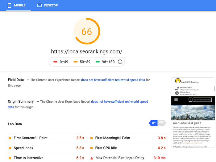 Google considers website speed an important element for SEO
