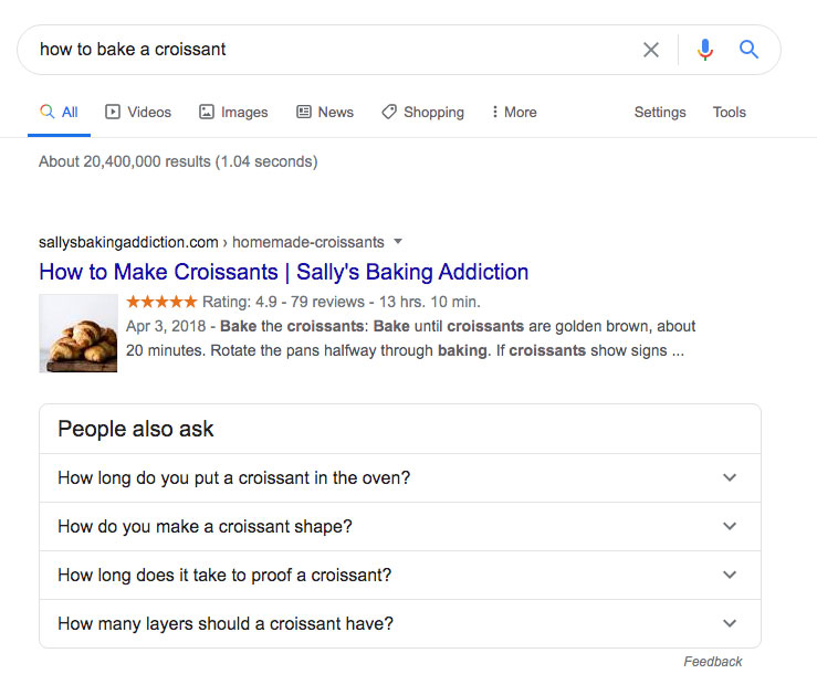 How to Bake a Croissant SERPs