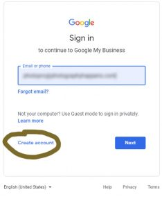 create an account with Google
